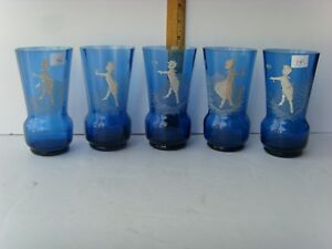5 Antique Open Pontil Cobalt Blue Mary Gregory Type Drinking Glasses 5 45 14