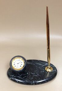 Desk Set With Watch And Ballpoint Pen On Green Marble Pedestal