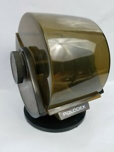 Vintage Rolodex Mid Century Sw 24c Rotary Swivel Filling Faux Wood File Index M2