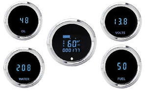 Dakota Digital Solarix Series Universal 5 gauge Kit Round Blue Display Slx 50 1