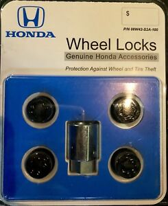 Genuine Honda Black Wheel Lock Set New Oem 08w42 S2a 100 New Oem
