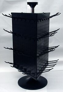 3 Sided Black Plastic Counter Top Peg Board Spinner Rack Display With Hooks