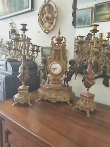 Franz Hermle Imperial Bronze Clock And Candelabras