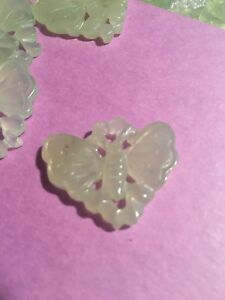 Vintage Carved Chinese Celadon Green Jade Stone Butterfly Pendant Bead 30mm