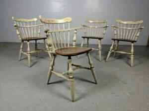 Set Of 4 Ethan Allen Hitchcock Style Maple Comb Back Chairs Windsor Captain