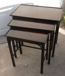 Set Of 3 Antique Mahogany Leather Top Nesting Tables