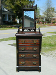 Small Walnut Victorian Lockside Chest With Mirror And Key Circa 1880