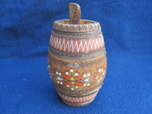 Very Rare Antique Old Hand Carved Small Painted Wooden Canteen Flask Keg