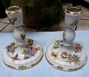 Two Herend Hungary Floral Butterflies Porcelain Gold Trim Candlesticks Holders