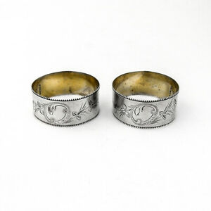 Napkin Rings Pair Floral Engraved Designs Beaded Rims Sterling Silver