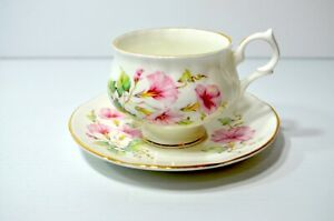 Vintage Springfield England Bone China Tea Cup And Saucer Red Floral