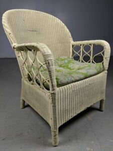 Vintage White Wicker Rattan Club Arm Chair Lounge Cushioned W Springs Trellis