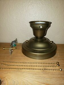 Look New Brass 3 Chain Light Fixture Vintage Art Deco Shade Three Chain
