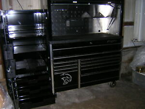 Snap On Black Tool Box Work Station Hutch And Side Cabinet
