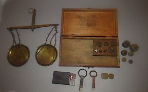 American Scale Works Troy Weight Hanging Balance Scale Lot Vintage Antique