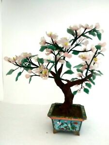Vintage Chinese Cloisonne Bonsai Tree Rose Quartz Flower W Dark Jade Leaves