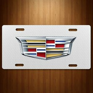 Cadillac Aluminum License Plate Auto Tag Simulated Carbon Fiber White New