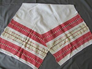 1915 S Towel Cloth Linen Table Runner Fabric Striped Vintage 19c