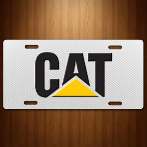 Cat Caterpillar Aluminum License Plate Tag Simulated Carbon Fiber White New