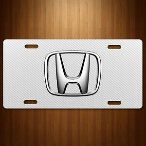 Honda Aluminum License Plate Tag Simulated Carbon Fiber White New