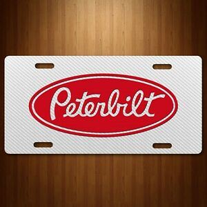 Peterbilt Aluminum License Plate Tag Simulated Carbon Fiber White New
