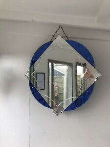 Art Deco Blue Wall Mirror Colored Panels Blue Etched Mirror Blue