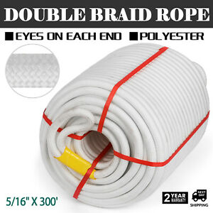 5 16 300 Braid Polyster Pulling Rope Double Braid Cable High Force With Thimble