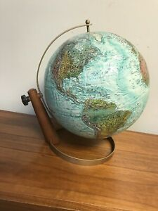 Mid Century Modern 12 Inch Desk Globe Replogle World Ocean Series