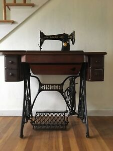 Antique Singer Treadle Sewing Machine And Cabinet Model 66 6 W Accessories