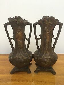 Arts And Crafts Movement Pair Exquisite Metal Vases Art Nouveau Paris Perfect