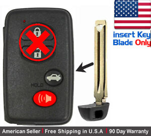 1 New Replacement Keyless Key Fob For Toyota Proximity Remote Insert Key Blade