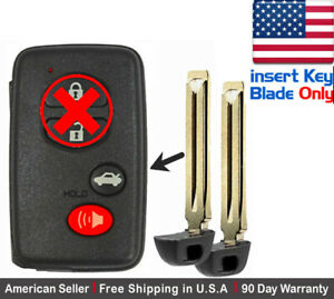 2 New Replacement Keyless Keyfob For Toyota Proximity Remote Insert Key Blade