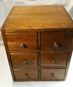 6 Drawer Index File Library Tiger Oak Cabinet Dovetail Construction Bell Tel