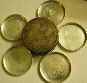 Vtg Silver Plated 5 Coasters Holder Made In India Pre Owned Unused C 1960s