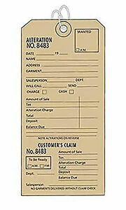 3w X 6h Inch Strung Off white Perforated Alteration Tags Box Of 500