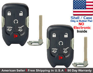 2x New Replacement Keyless Key Fob Case For Chevy Gmc Smart Proximity Shell
