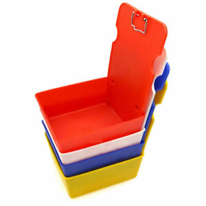 5 Pcs Dental Lab Plastic Pans Working Case With Clip Holder For Dentist Supply