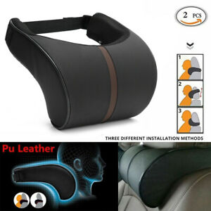 2 Leather Car Auto Memory Foam Pillow Seat Head Neck Headrest Rest Cushion Black