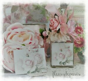 Shabby Chic Vintage French Decorative Perfume Type Bottle Faded Roses