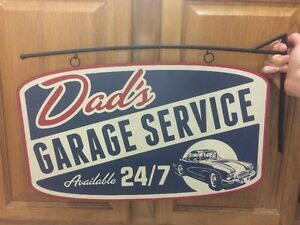 Dads Garage Service 24 7 Flange Motor Vintage Look Metal Kids Decor Gas Oil Tire