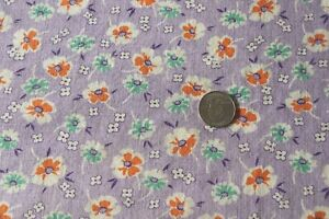 Pretty Genuine Vintage Cotton Lavender Orange Floral Feedsack Fabric 36 X 35