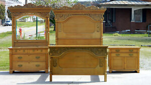 High Back Tiger Oak 3 Piece Bedroom Set Bed Dresser Washstand