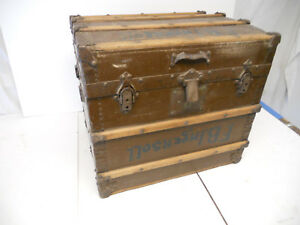 Antique Trunk Chest Steamer Train Victorian 1800 S Vintage Ingersoll Insert