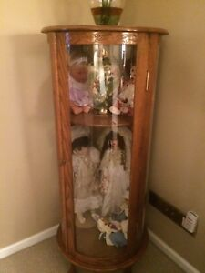 Hand Crafted Oak Rounded Glass Display Case 56 5 X 24 Vintage Antique