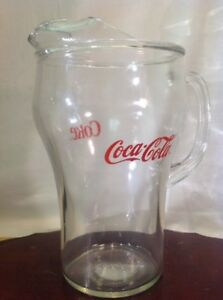 Vtg Coca-Cola Glass Pitcher W/ Ice Lip 1980s 64oz Red Letters.      Ztop