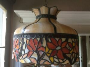 Vintage Leaded Glass Hanging Lamp Flowers Tan Globe C1920 40 Tiffany Style