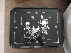 Old Vintage Black Lacquer Mother Of Pearl Korean Tea Table