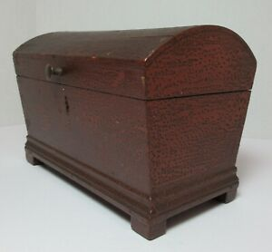 19th Century Miniature Painted Dome Top Dovetail Wood Box Antique