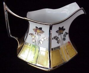 Antique Porcelain Water Pitcher Havilland Artist Signed Gold Silver Gilt