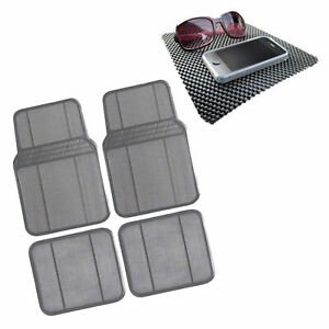 Rubber Floor Mats For Auto Car Suv Gray Universal Fit Heavy Duty W Dash Mat